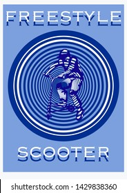stunt kick scooter rider boy  jump with  stunt kick scooter on geometric blu  background in stencil art for cover modern layout, t-shirt design, poster, flyer in A4 vector illustration