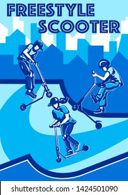 stunt scooter rider boys and girls jump freestyle stunt kick scooter with design background in blu color vector illustration