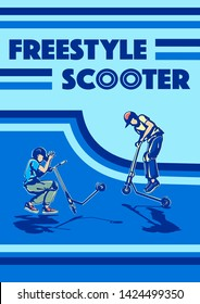 stunt  scooter riders boys young man jump freestyle stunt kick scooter with design background in blue color vector illustration