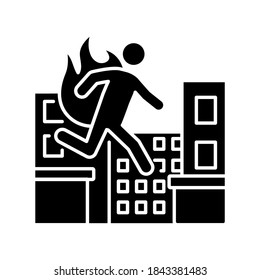 Stuntman black glyph icon. Cinema actor. Movie performer professional. Person run in disaster. Safety during fire hazard. Silhouette symbol on white space. Vector isolated illustration