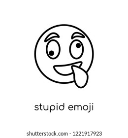 stupid emoji icon. Trendy modern flat linear vector stupid emoji icon on white background from thin line Emoji collection, outline vector illustration
