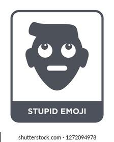 stupid emoji icon vector on white background, stupid emoji trendy filled icons from Emoji collection, stupid emoji simple element illustration