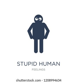 stupid human icon. Trendy flat vector stupid human icon on white background from Feelings collection, vector illustration can be use for web and mobile, eps10