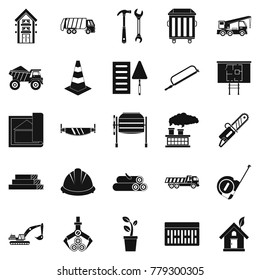 Sturdy house icons set. Simple set of 25 sturdy house vector icons for web isolated on white background