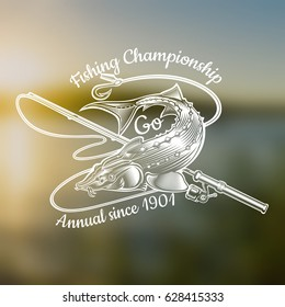 Sturgeon fish with fishing rod in engraving style. Logo for fishing, championship and sport club on blurred landscape photo