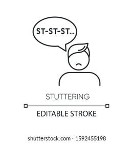 Stuttering linear icon. Speech problem. Sound prolongation. Oral communication issue. Mental disorder. Thin line illustration. Contour symbol. Vector isolated outline drawing. Editable stroke