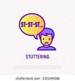 Stuttering thin line icon. Modern vector illustration.
