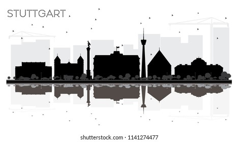 Stuttgart Germany City skyline black and white silhouette with Reflections. Vector illustration. Simple flat concept for presentation, banner, placard or web site. Stuttgart Cityscape with landmarks.