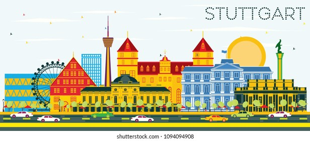 Stuttgart Germany Skyline with Color Buildings and Blue Sky. Vector Illustration. Business Travel and Tourism Concept with Historic Architecture. Stuttgart Cityscape with Landmarks.