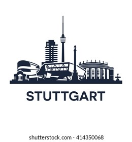 Stuttgart Skyline Emblem. Collection of various landmarks in Stuttgart, Germany.