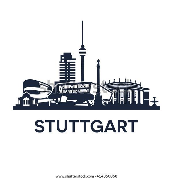 Stuttgarter Skyline-Emblem. Sammlung verschiedener Wahrzeichen in Stuttgart.