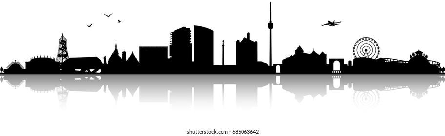 Stuttgart skyline silhouette black