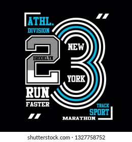 style brooklyn,new york athletic graphic t shirt print vector illustration typography design