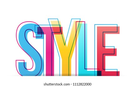 Style colorful word, vector design letter.