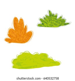 Style cute bushes set vector