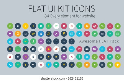 Style flat icons pack for webdesign or mobile application.