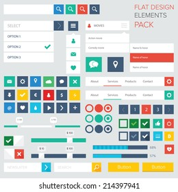 Style flat ui kit design elements for web design with drop down menu. Flat icons with menu, turn on and turn off button, progress bars, input and menu bar / Flat ui kit design elements for webdesign