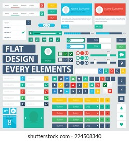 Style flat ui kit design elements for web design with drop down menu. Flat icons with menu, progress bars, input and menu bar. Every element for webdesign. / Flat ui kit design elements for webdesign