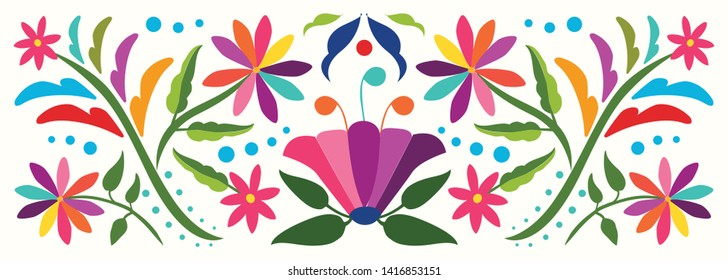 Otomí Style Horizontal Banner - Colorful Mexican Traditional Textile Embroidery from Tenango, Hidalgo; México