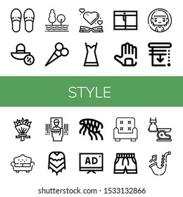 style icon set. Collection of Slippers, Sun hat, Tree, Scissors, Heart, Nightgown, Shorts, Gloves, Woman, Blinds, Flower bouquet, Sofa, Business card, Poncho, Flea, Tv, Armchair icons