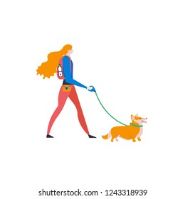 Сartoon style icons of Welsh Corgi Cardigan and personal dog-walker. Cute girl with pet outdoors. Vector illustration.