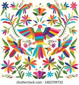 Otomí Style Pattern. Colorful Mexican Traditional Textile Embroidery Style from Tenango, Hidalgo; México
