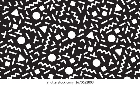 style seamless pattern Black and white hipster backdrop. Abstract geometric background from eighties copy