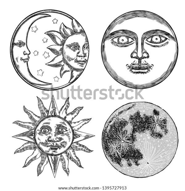 Style Set Realistic Full Moon Human Stock Vector (Royalty