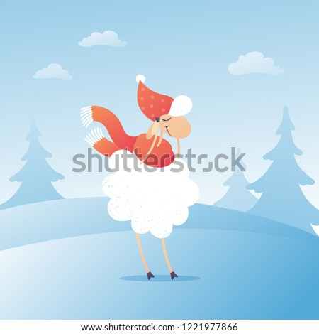 bbe65b20088b Vector adorable sheep character on winter landscape background in Christmas  flat illustration. Picture for Christmas and New Year square card. - Vector