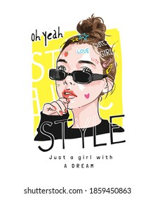 style slogan with cartoon girl hair bun in sunglasses illustration