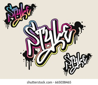 Style text in graffiti style vector illustration.