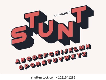 Styled sans serif bold letters with long shadow. Vector alphabet, typeface, font, typography. Global swatches.