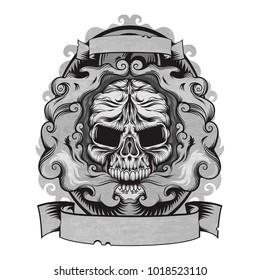 Styled skull with vape, smoke in grange design, vector emblem logotype illustration isolated on white background