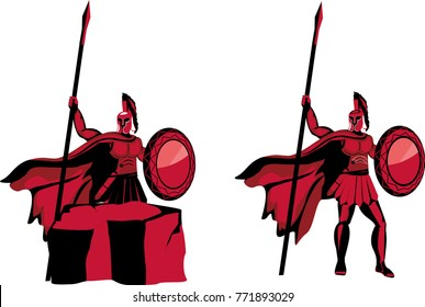 Styled warriors characters, vector logo design, ancient spartan warriors.