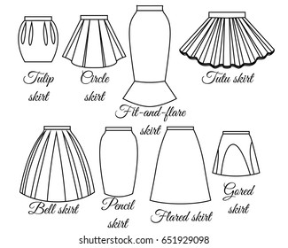 Styles of skirts set outline