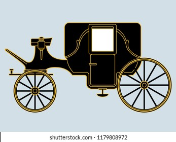 Stylised black and gold vector drawing of vintage horse-drawn royal carriage
