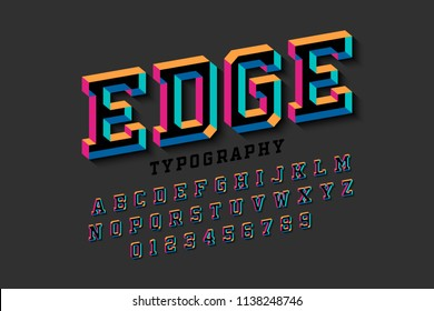 Stylised colorful 3d font Edge, alphabet letters and numbers vector illustration