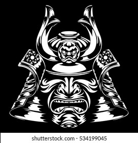 A stylised fearsome Samurai Mask and Helmet
