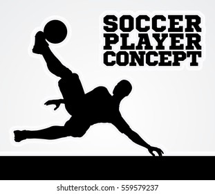 A stylised illustration of a soccer football player in silhouette