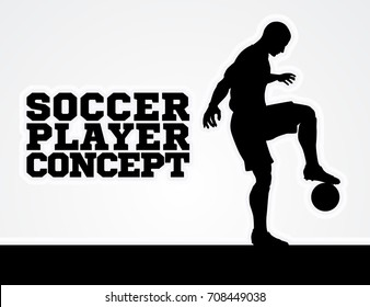 A stylised illustration of a soccer football player in silhouette dribbling the ball