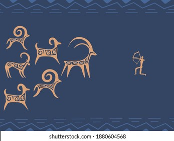 Stylised kazakh petroglyphs of animals, goats and sheeps, and a hunter with pattern