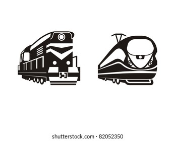 stylised trains from different time