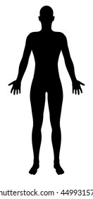 A stylised unisex human figure standing in silhouette