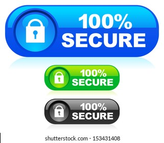 Stylish 100% Secure Buttons with reflection, highlight (Blue Green Black versions)