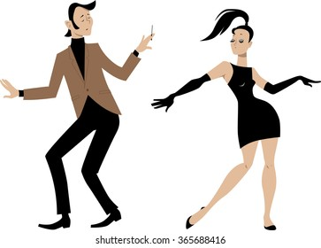 Stylish 1960s couple dancing, EPS 8 vector illustration