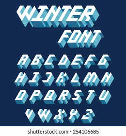 Stylish 3d  isometric font in clean winter inspired colours.