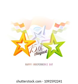 Stylish 3D Stars in  Saffron, White and Green Colour and Indian Waving Flages. Indian Independence Day celebration concept.