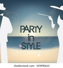 Stylish 60s party invitation template with smart dressed woman and man on summer background. Eps10 vector illustration