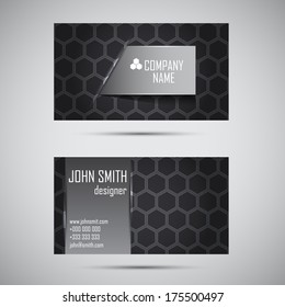 Stylish abstract black business card - vector background