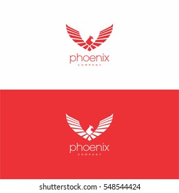 Stylish abstract phoenix logo sign template on red and white background.